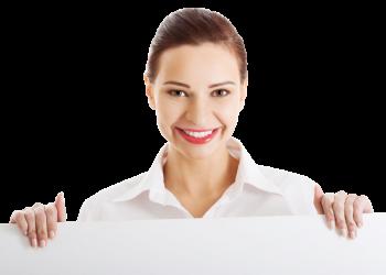 Business women holding a board