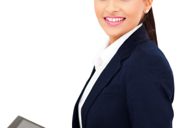 Business Woman Holding A Touch Pad