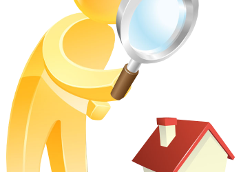3d people with a magnifying glass and a house