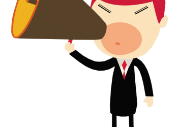 Business man shouting in a megaphone