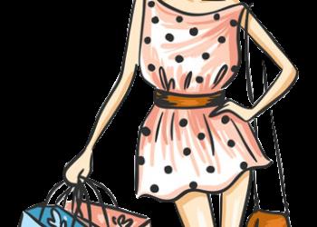 Stylish cartoon girls in shopping
