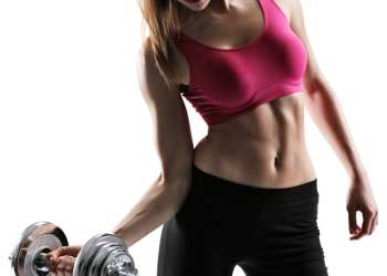 Beautiful young fitness woman with a dumbbells