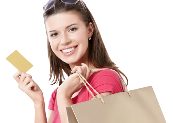 Young Girl holdind shopping bags and credit card
