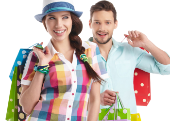 Young Couple Holding Shopping Bag