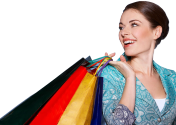 Young woman with colorful shopping bags