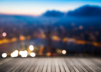 Blurred abstract background of aerial view of city night lights