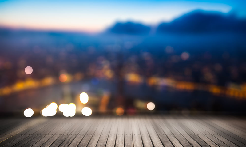 Blurred Abstract Background Of Aerial View Of City Night