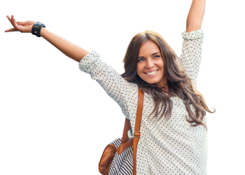 Cheerful woman long hair with backpack
