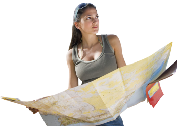 Pretty Girl Holding Map Before Travel