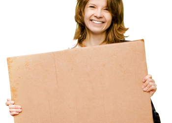 Happy Smiling Girl Holding Blank Board