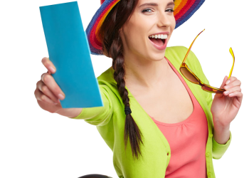 Pretty teen girl in straw hat showing tickets
