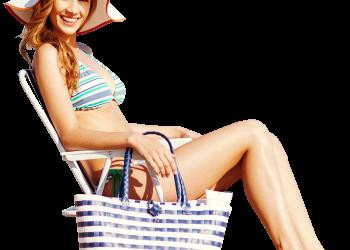 Happy Woman wearing bikini smiling