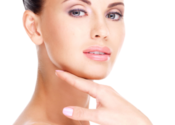 Beauty skincare woman touching perfect skin on face