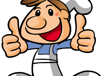 Cartoon male chief cook in uniform showing thumb up