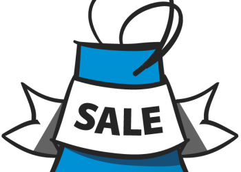Sale shopping bag icon in blue color