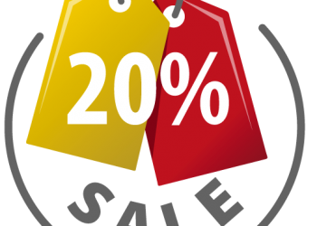 Yellow and Red sale tag with 20 percent discount sign