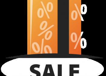 Orange Shopping bag with sale percentage symbol