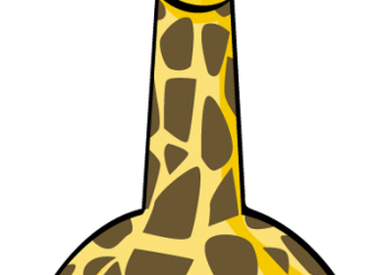 Funny cartoon giraffe with big eyes