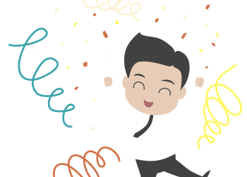 Happy young cartoon businessman jumping