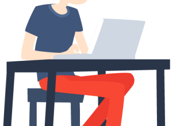 Happy Cartoon young man with Laptop