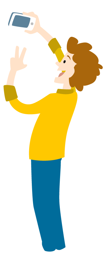 cartoon young man take selfie by smartphone 1designshop