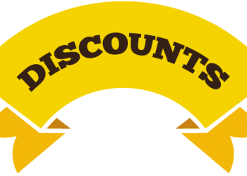 Discount label with yellow ribbon