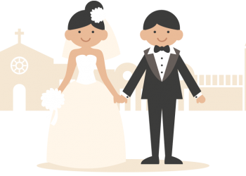 A Wedding Couple In Cartoon Style