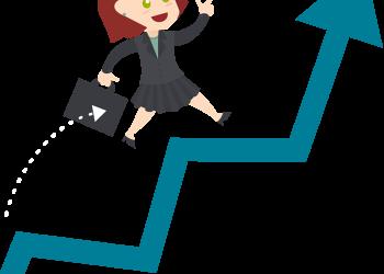Cartoon Business woman walk up with blue stock arrow
