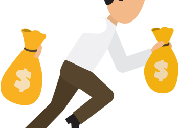 Cartoon Business Man Run With Money Bags