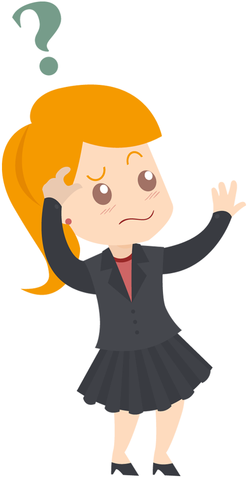 Cartoon Business woman feeling confused | 1designshop