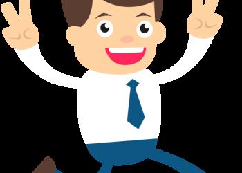 Happy businessman hands raised up
