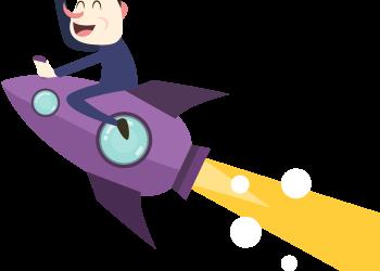 Happy cartoon businessman flying on a rocket