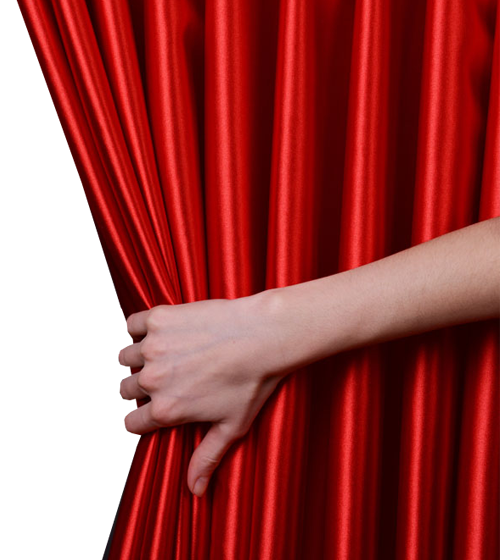 Woman Hand Pulling Red Velvet Luxury Curtain 1designshop