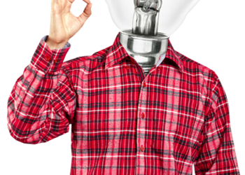 Man with idea light bulb head concept