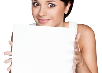 Young woman hold board