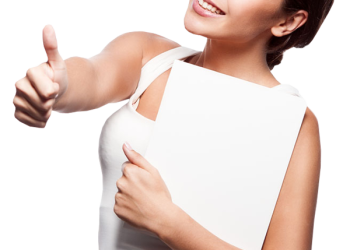 Smiling Woman hold card and showing thumbs-up