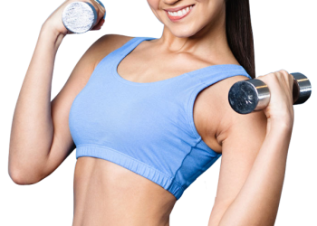 Fitness sport woman smiling happy with dumbbell