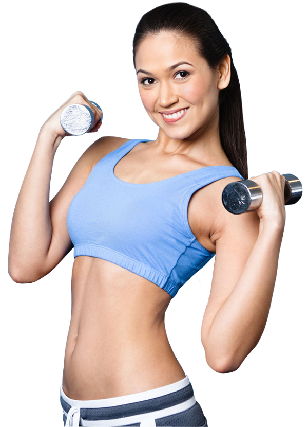 Fitness sport woman smiling happy with dumbbell | 1designshop