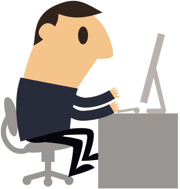 Cartoon business man working with computer   Free Stock ... (620 x 650 Pixel)