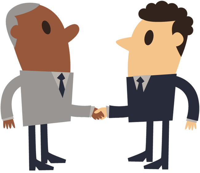 simple cartoon of businessman shaking hands