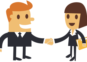 Cartoon Businessman Shaking Hands With A Businesswoman