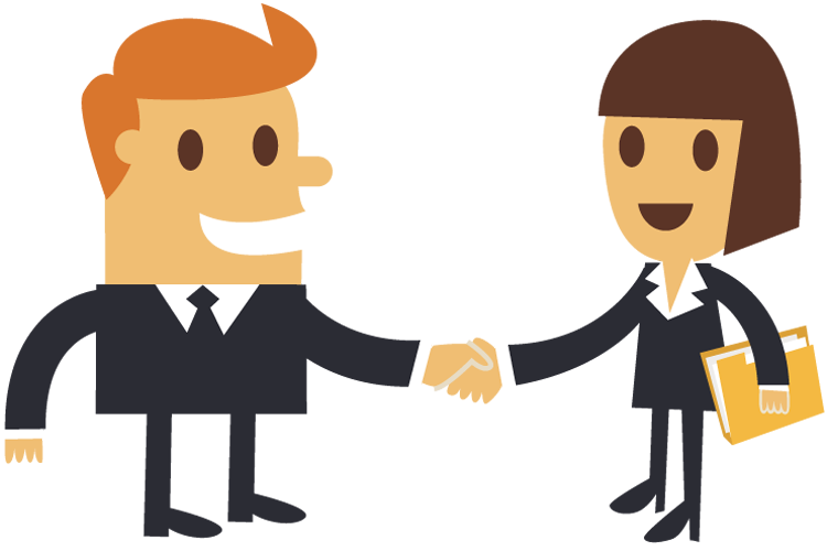 Cartoon Businessman Shaking Hands With A Businesswoman. Business deal ...