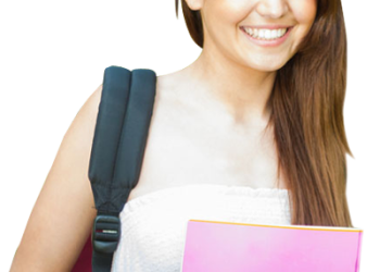 Lady Student Holding Books And Bag