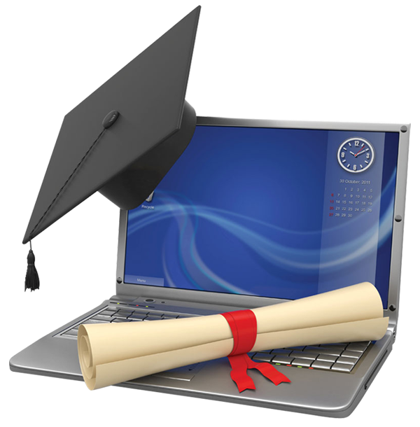 A Laptop For Learning With Graduation Cap And Diploma