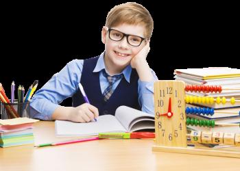 Cute Children Writing On Book