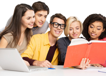 Group of young students Learning together