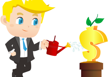 Young Cartoon Businessman Watering Money Plant