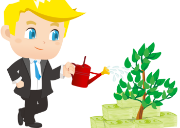 Cartoon Businessman Watering Small Money Plant