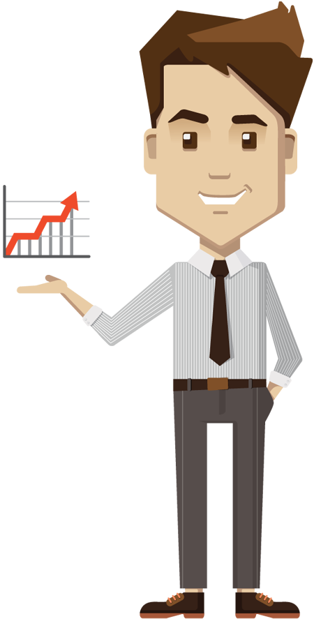 Cartoon Businessman Holding Growth Chart Board 1designshop