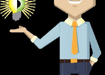 Cartoon businessman showing idea bulb